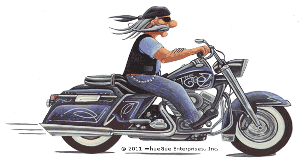 """The Geez"" on bike. Color"